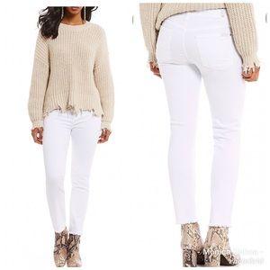 7 For All Mankind Ankle Frayed Hem Skinny Jeans